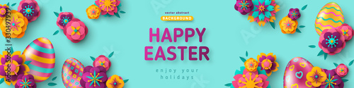 Canvastavla Easter horizontal banner with ornate eggs and paper cut flowers on blue background