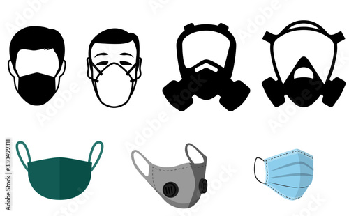 Face masks gas mask wirus bakteria anti Wallpaper Mural