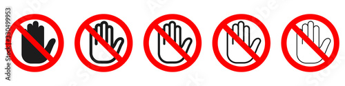 Fotografie, Obraz Hand forbidden vector sign. Stop hand icons set.