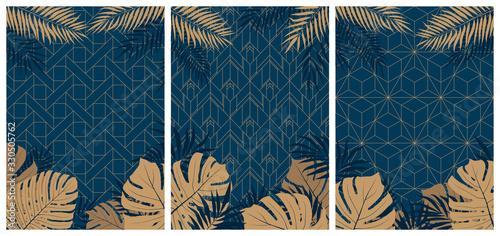 Creative set of elegant brochures with tropical leaves and plants on dark geo...