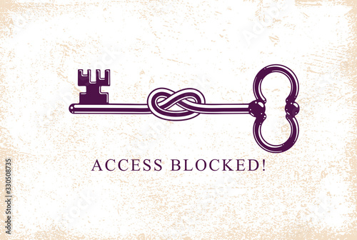 Access Denied, Knotted key allegorical symbol, vintage antique turnkey in a knot, blocked account, personal data protection, hacker and fraud attack, vector logo Canvas-taulu