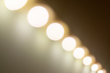 Blurry Warm Lights Bokeh Seen From A Diagonal Perspective