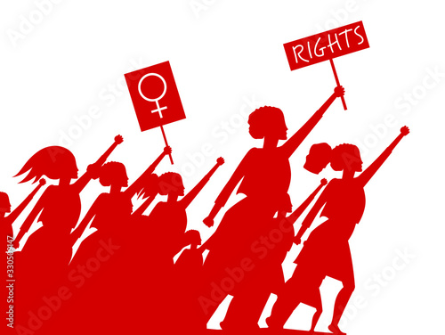 Feminist woman activist leading a crowd of people struggles for rights vector illustration isolated, social justice warriors, girl power Canvas Print