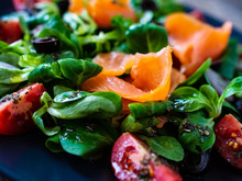 Salmon Salad - Smoked Salmon And Vegetables On Wooden Background