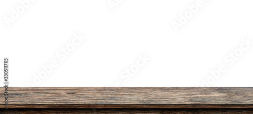 Texture empty brown wood table top texture on white background Canvas Print