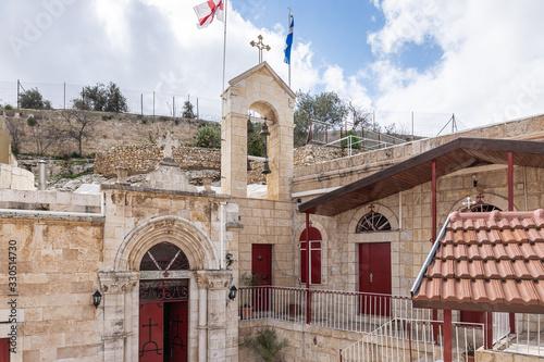 Fotografia The inside of the Greek Akeldama Monastery in the old city of Jerusalem in Israe
