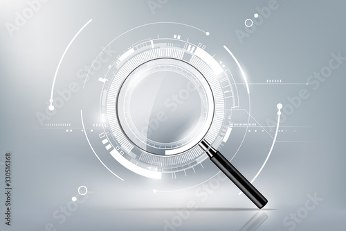 Photo magnifying glass with scan search concept and futuristic electronic technology b
