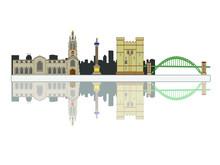 Vector Skyline Of Newcastle City North Of England