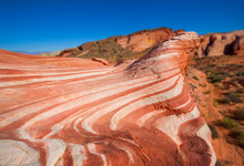 Red Coloured Rock Layers At Small Wave In Valley Of Fire, USA