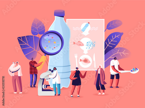 Obraz Microplastic in Water and Food. Global Ocean Pollution. Ecological Problem. Dangerous Additives. Male Female Tiny Characters with Microscope and Magnifying Glass. Cartoon People Vector Illustration - fototapety do salonu