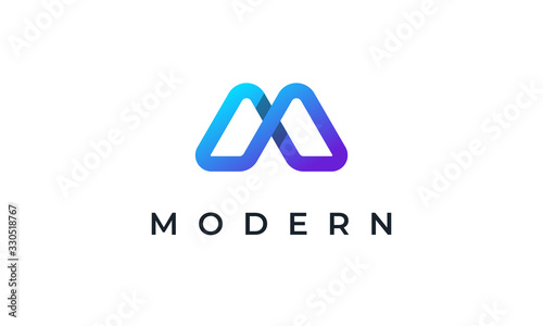 Creative Abstract Letter M Logo Wallpaper Mural