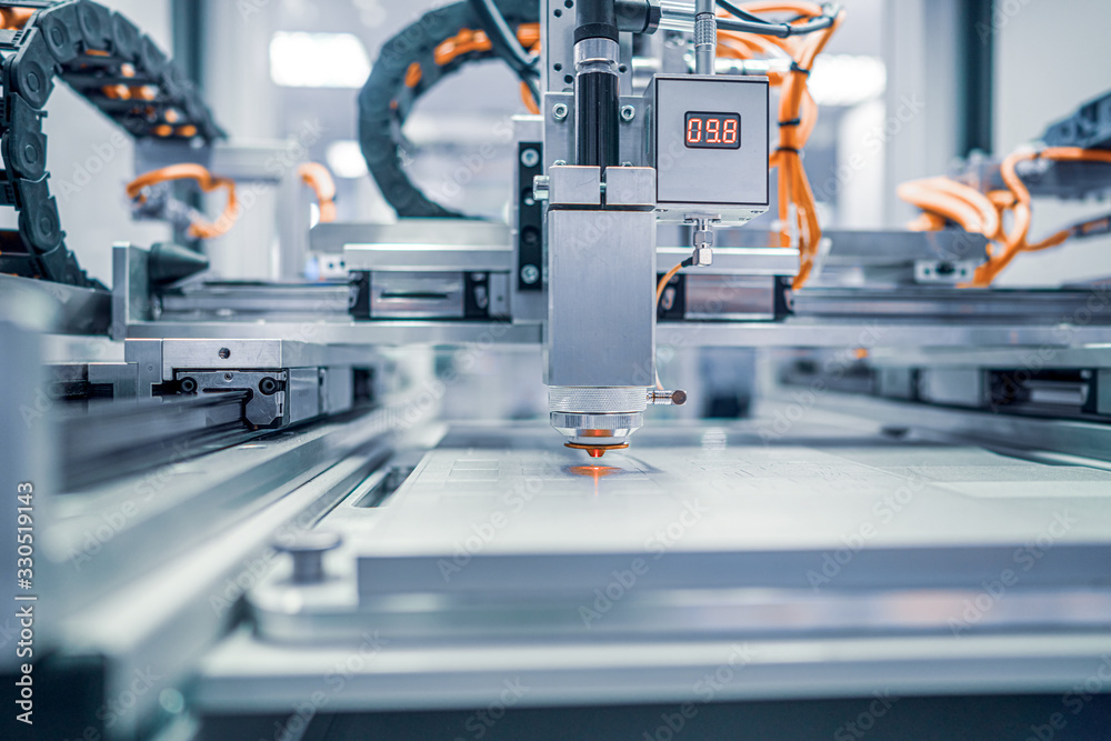 Fototapeta Metalworking CNC lathe milling machine. Cutting metal modern processing technology.