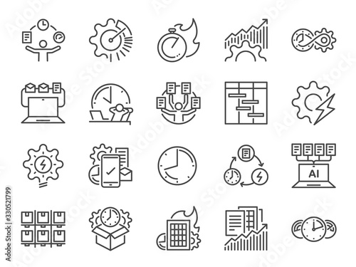 Efficiency line icon set Wallpaper Mural