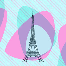 Sketch Of Eiffel Tower In Paris, France, On Aqua Menthe And Pink Color Abstract Streamlined Shapes On Diagonal Striped Square Background. Hand Drawn Vector Illustration