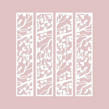 Laser Cut Vector Borders Set With Cherry Blossom Branches Pattern. Paper Cutting, Cutout Floral Bookmarks .