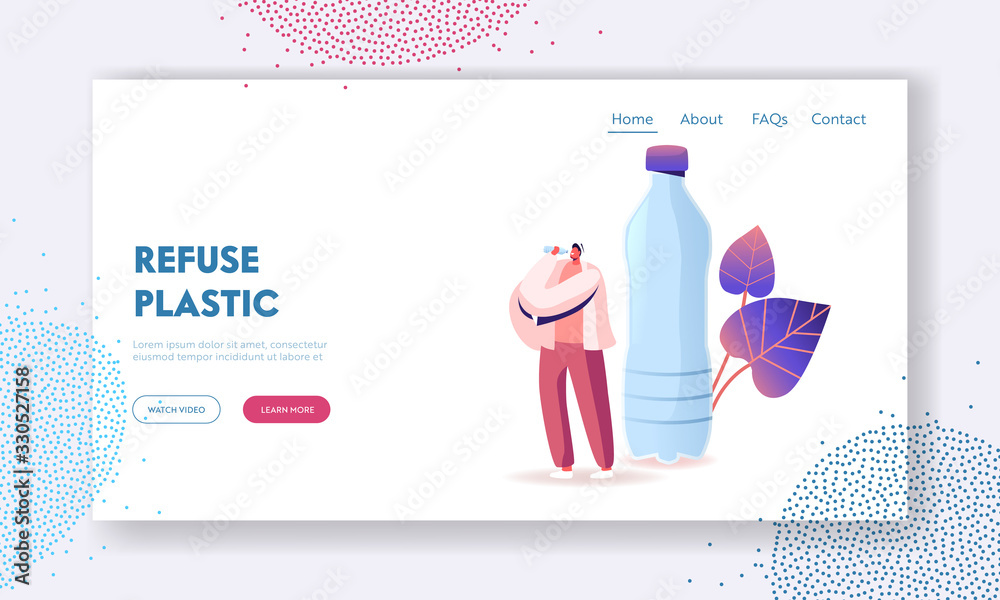 Fototapeta Micro Plastic Contamination Landing Page Template. Tiny Male Character Drinking Bottle Water with Microplastic Pieces. Ecological Pollution, Planet Eco System Environment. Cartoon Vector Illustration
