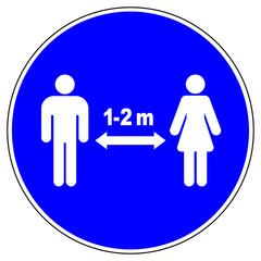 shas596 SignHealthAndSafety shas - German / Gebotsschild, Gebotszeichen: Bitte Abstand halten. - 1-2 meter. - english / mandatory sign: keep your distance - infection - prevention / hygiene. - g9261