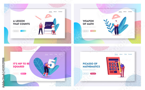 Mathematics, Algebra and Trigonometry Science Landing Page Template Set Canvas Print