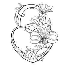 Padlock Heart With Outline Tropical Bunch Alstroemeria Or Peruvian Lily Flower And Leaf In Black Isolated On White Background.