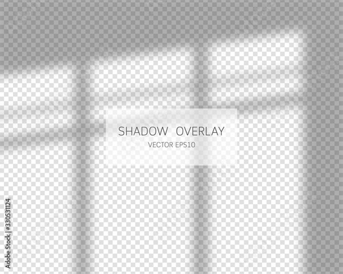 Shadow overlay effect. Natural shadows from window isolated on transparent background. Vector illustration.
