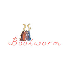 Bookworm Lettering And Beautiful Horned Dragon. Design For Lovers Of Fantasy Books, Book Club Or Store. Magical World Of Reading. Hand Drawn Vector Illustration Isolated On White Background.