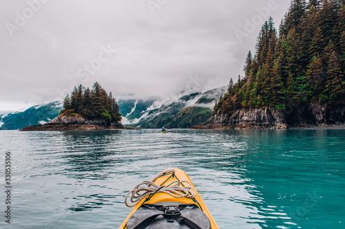 Fototapeta Adventure Kayak Tour in Tracy Arm Alaska at Dawes Glacier, Seward obraz