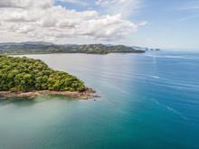 Aerial Shot Of The Tropical Beach Playa Arenillas In Costa Rica In Peninsula Papagayo Coast In Guanacaste
