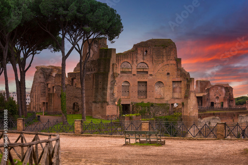 Fotografie, Obraz Ruins of the Hippodrome of Domitian in ancient Rome at sunset, Italy