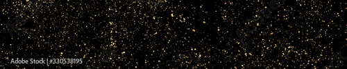 Fototapeta Gold glitter texture panoramic background.Gold glitter texture isolated on black. Amber particles color. Celebratory panoramic background. Golden explosion of confetti. Long horizontal banner. Vector  obraz