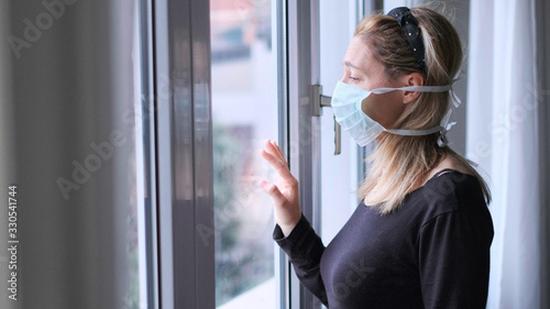 horizontal background woman in isolation at home for virus outbreak or hypochond Fototapet