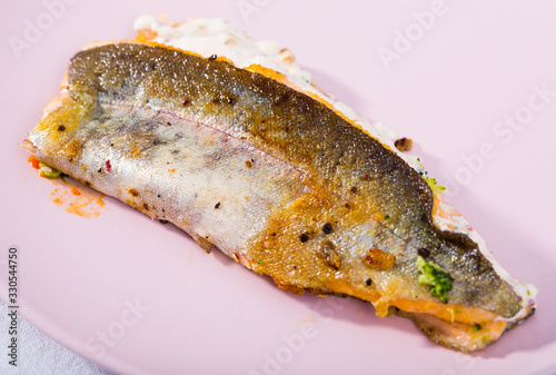 fototapeta na drzwi i meble Roasted trout fillet with broccoli