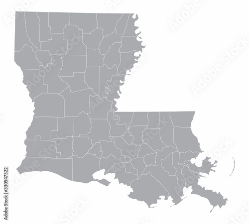 Louisiana State counties map Wallpaper Mural