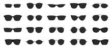 Sunglasses Icon Set. Black Gla...
