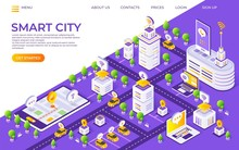Isometric City Landing Page. S...