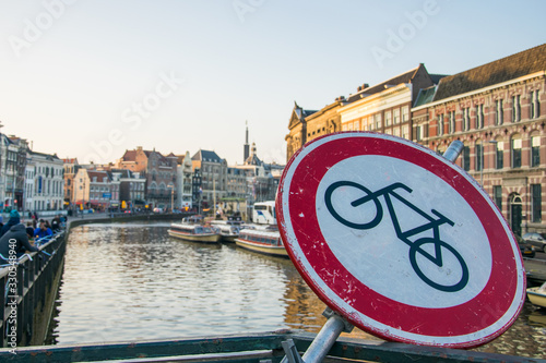Sign cycling forbidden in amsterdam netherlands Wallpaper Mural