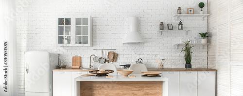 Modern stylish Scandinavian kitchen interior with kitchen accessories Canvas Print