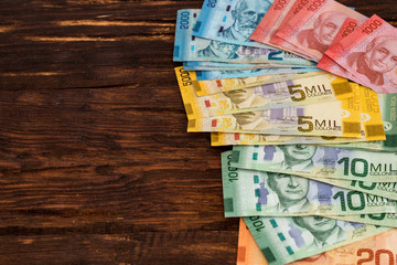 Costa rica money, colones banknotes / place for text