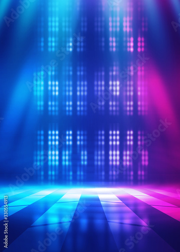Background empty show scene. Ultraviolet dark abstract background. Geometric neon shapes, neon glow, blue and pink lighting - 330554913