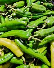 Bell Pepper, Anaheim Pepper, Green Pepper Texture Background Close Up