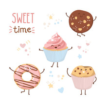 Kawaii Vector Illustration Sweet Time. Set Of Cute Baked Products With Doodle Hearts, Stars And Dots. Sweet Donut, Cookie, Muffin, And Cupcake Isolated On White. Lovely Card, Poster Design For Bakery.
