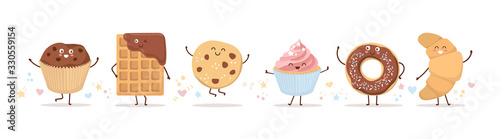 Set of cute pastry characters in trendy Kawaii style. Choco waffle, cookie, donut, muffin, and cupcake. Happy baked foods with doodle stars and hearts. Banner, card, poster design for bakery and cafe.