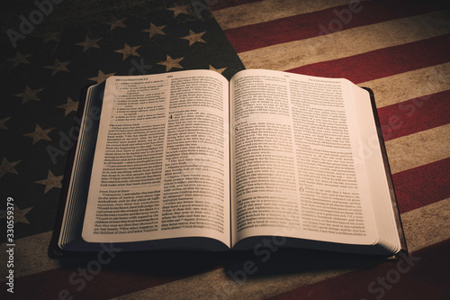 Photo Holy Bible on a vintage American Flag