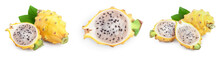 Ripe Dragon Fruit, Pitaya Or Pitahaya Yellow Isolated On White Background, Fruit Healthy Concept. Set Or Collection