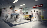 A motion blurred photograph of a patient on stretcher or gurney being pushed at speed through a hospital corridor.New corona virus (novel Coronavirus 2019 disease,COVID-19,nCoV).