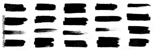 Black set paint, ink brush, brush strokes, brushes, lines, frames, box, grungy. Grungy brushes collection. Brush stroke paint boxes on white background - stock vector.