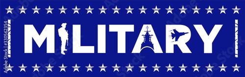 Photo Diseño palabra Military. Ilustración veectorial