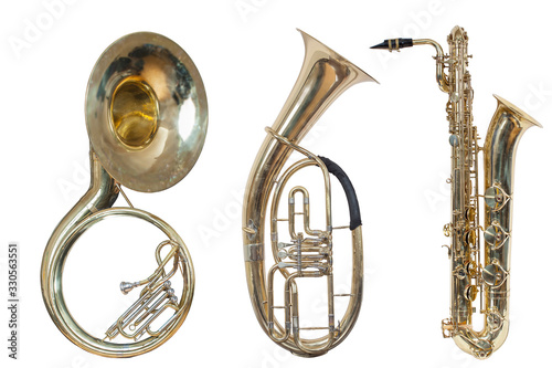 set of three wind musical instruments, classic wind instrument sousaphone, class Canvas Print