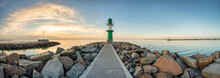 Westmole Lighthouse In Warnemünde Near Rostock