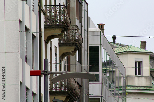 Biel/Bienne, BE, Switzerland - September 29, 2018: cityscape with streetlamp and Canvas Print