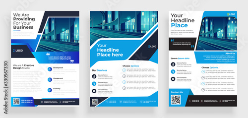 Fototapeta poster flyer pamphlet brochure cover design layout space for photo background, vector illustration template in A4 size obraz